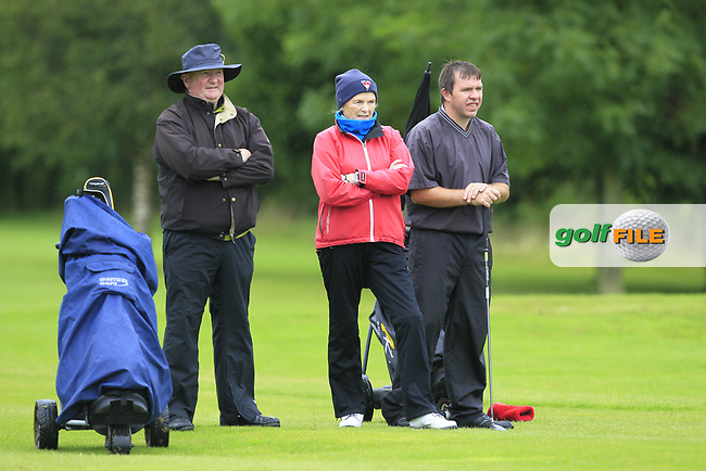 Cait Cooney &amp; Colm Cassidy (Tullamore) on the 1st fairway during the Final round of the Irish Mixed Foursomes Leinster Final at Millicent Golf Club, Clane, Co. Kildare. 06/08/2017<br /> Picture: Golffile | Thos Caffrey<br /> <br /> <br /> All photo usage must carry mandatory copyright credit      (&copy; Golffile | Thos Caffrey)