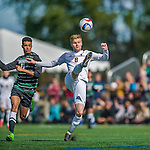 3 October 2015: University of Vermont Catamount Defender Loftur Eriksson, a graduate from Saudarkrokur, Iceland, in action against the Binghamton University Bearcats at Virtue Field in Burlington, Vermont. The Catamounts were unable to complete a late game rally, falling to the Bearcats 2-1 in America East conference play. Mandatory Credit: Ed Wolfstein Photo *** RAW (NEF) Image File Available ***
