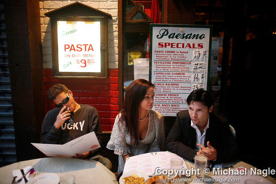 NEW YORK - JULY 23:   Corey Haim (L), Corey Feldman (R) and his wife Suzie have a sit at Paesano's on Mulberry Street on July 23, 2007 in New York City's Little Italy.  They have a new reality tv show-- 'The Two Coreys.'  (Photo by Michael Nagle)