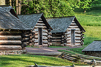 Log cabins used by Washington's troops at Valley Forge, Pennsylvania, USA