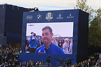 Rory McIlroy (Team Europe) on the big screen at the 18th green during the Sunday Singles of the Ryder Cup, Le Golf National, Ile-de-France, France. 30/09/2018.<br /> Picture Thos Caffrey / Golffile.ie<br /> <br /> All photo usage must carry mandatory copyright credit (© Golffile | Thos Caffrey