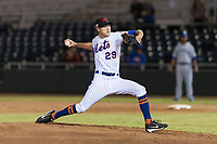 Scottsdale Scorpions relief pitcher Stephen Nogosek (29), of the New York Mets organization, delivers a pitch during an Arizona Fall League game against the Surprise Saguaros at Scottsdale Stadium on October 15, 2018 in Scottsdale, Arizona. Surprise defeated Scottsdale 2-0. (Zachary Lucy/Four Seam Images)