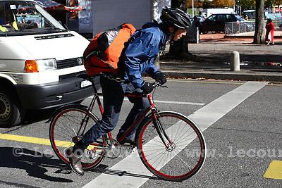 Genève, le 20.10.2010.Vélos en ville..© Jean-Patrick Di Silvestro / Le Courrier