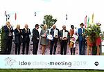 03.07.2019,  GER;  Idee 150. Deutsches Derby 2019, im Bild Sieger Laccario mit Reiter Eduardo Pedroza, die Siegerehrung Foto © nordphoto / Witke *** Local Caption ***