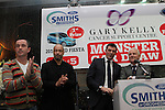 Gary Kelly, Paul McGrath and Giovanni Trapattoni at the Launch of the Monster Car Draw in aid of the Gary Kelly Centre at Smiths Garage....Photo NEWSFILE/Jenny Matthews.
