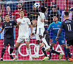 Real Salt Lake defender Justen Glad (15) grabs Colorado Rapids forward Dominique Badji (14) to keep him from scoring in the first half Saturday, April 21, 2018, during the Major League Soccer game at Rio Tiinto Stadium in Sandy, Utah. RSL beat the Colorado Rapids 3-0. (© 2018 Douglas C. Pizac)