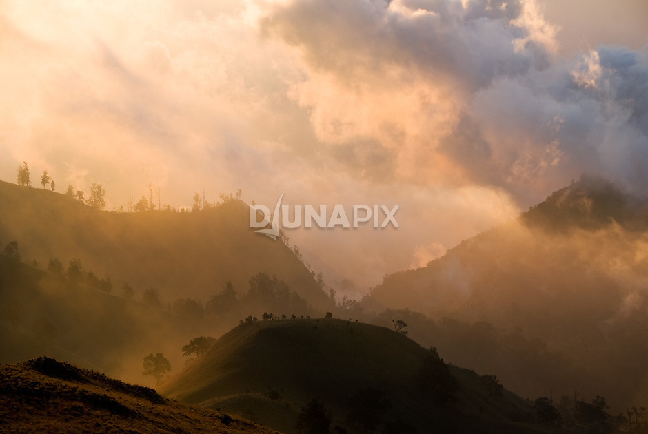 Sunset fog as seen from Mount Rinjani, Lombok, Indonesia