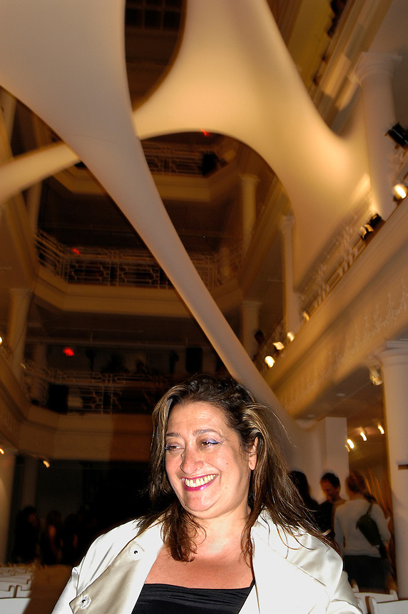 architect Zaha Hadid after her talk .at the historic Moore Building.in the Miami Design District.underneith her sculptural site-specific installation.for Design 05 Miami