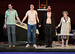 """Gary Wilmes, Paul Dano, Ethan Hawke and Marylouise Burke during the Broadway Opening Night Curtain Call for the Roundabout Theatre Production of """"True West"""" at the American Airlines Theatre on January 24, 2019 in New York City."""