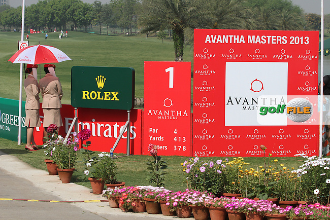 Emirates Girls on the 1st tee during Round 4 of the 2013 Avantha Masters, Jaypee Greens Golf Club, Greater Noida, Delhi, 17/3/13..(Photo Jenny Matthews/www.golffile.ie)