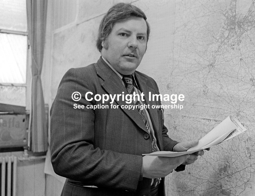 Norman Hutton, chief executive, Ulster Unionist Party, in his office, Glengall Street, Belfast, N Ireland. Since 1997 he has been minister of First Newry Presbyterian (Non-Subscribing) Church. 1976002000165NH<br /> <br /> Copyright Image from Victor Patterson, 54 Dorchester Park, Belfast, UK, BT9 6RJ<br /> <br /> Tel: +44 28 9066 1296<br /> Mob: +44 7802 353836<br /> Voicemail +44 20 8816 7153<br /> Email: victorpatterson@me.com<br /> Email: victorpatterson@gmail.com<br /> <br /> IMPORTANT: My Terms and Conditions of Business are at www.victorpatterson.com