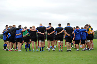 The Bath Rugby team huddle together. Bath Rugby pre-season training session on July 28, 2017 at Farleigh House in Bath, England. Photo by: Patrick Khachfe / Onside Images