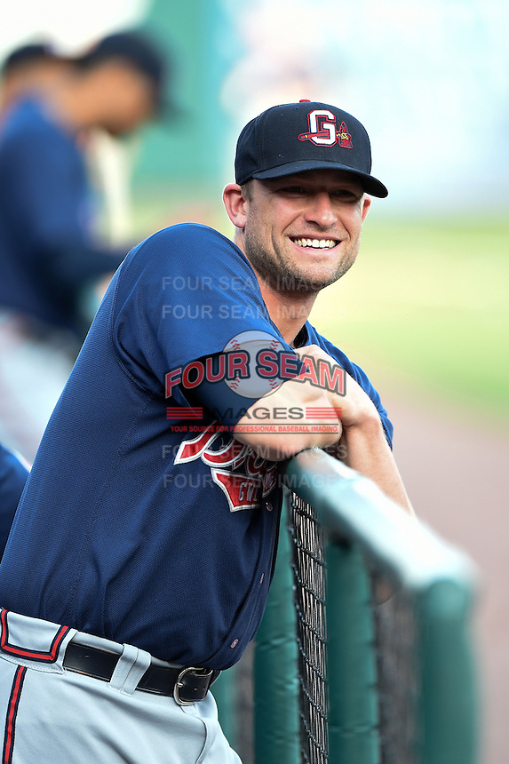 Gwinnett Braves catcher Steven Lerud (19) in the dugout before a game against the Buffalo Bisons on May 13, 2014 at Coca-Cola Field in Buffalo, New  York.  Gwinnett defeated Buffalo 3-2.  (Mike Janes/Four Seam Images)