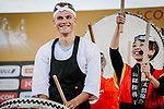 The art of taiko, Japanese percussions for Marcel Kittel (GER) at the media day before the 2018 Saitama Criterium, Japan. 3rd November 2018.<br /> Picture: ASO/Pauline Ballet | Cyclefile<br /> <br /> <br /> All photos usage must carry mandatory copyright credit (© Cyclefile | ASO/Pauline Ballet)