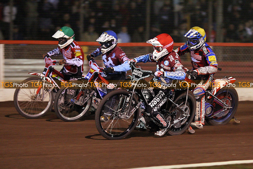Heat 12: Lee Richardson (red), Phil Morris (blue), Rene Bach (yellow) and Mads Korneliussen (green) - Lakeside Hammers vs Peterborough Panthers - Sky Sports Elite League Speedway at Arena Essex Raceway, Thurrock - 03/04/09 - MANDATORY CREDIT: Gavin Ellis/TGSPHOTO - Self billing applies where appropriate - 0845 094 6026 - contact@tgsphoto.co.uk - NO UNPAID USE.