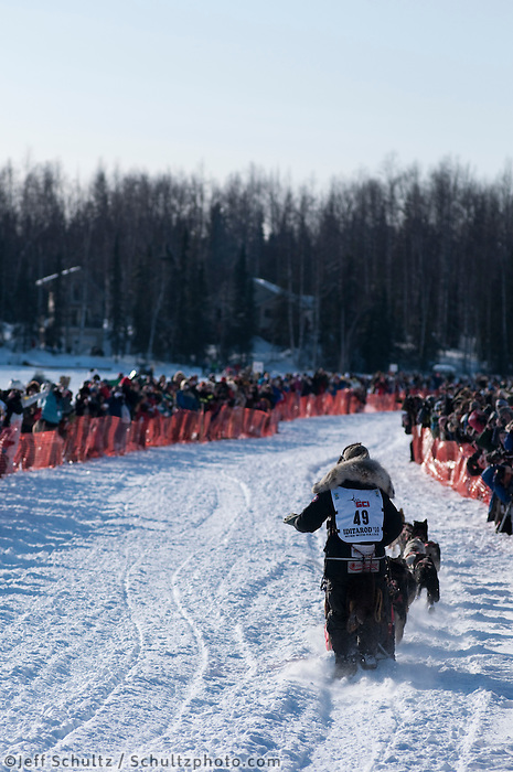 2010 Iditarod Re-start in Willow Alaska musher # 49 LANCE MACKEY.