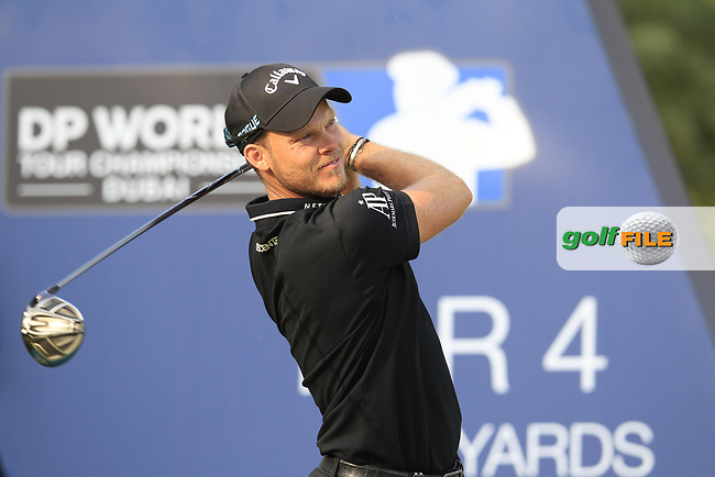 Danny Willett (ENG) on the 16th tee during the final round of the DP World Tour Championship, Jumeirah Golf Estates, Dubai, United Arab Emirates. 18/11/2018<br /> Picture: Golffile | Fran Caffrey<br /> <br /> <br /> All photo usage must carry mandatory copyright credit (&copy; Golffile | Fran Caffrey)