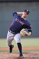 Relief pitcher Matt Custred (37) of the Rome Braves delivers a pitch in game one of a doubleheader against the Columbia Fireflies on Saturday, August 19, 2017, at Spirit Communications Park in Columbia, South Carolina. Rome won, 8-2. (Tom Priddy/Four Seam Images)