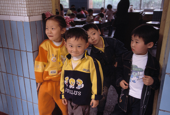 elementary, school, children at classroom door; neighborhood elementary school; Chongqing, China, Asia; 041603