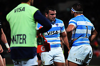 Agustin Creevy and Lucas Noguera during the Rugby Championship match between the NZ All Blacks and Argentina Pumas at Yarrow Stadium in New Plymouth, New Zealand on Saturday, 9 September 2017. Photo: Dave Lintott / lintottphoto.co.nz