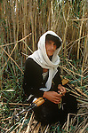 Marsh Arabs. Southern Iraq. Circa 1985. Marsh Arab young man with hunting rifle amongst reed banks. Haur al Mamar or Haur al-Hamar marsh collectively known now as Hammar marshes Irag 1984