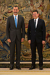King Felipe VI of Spain during Royal Audience with the president of the Generalitat Valenciana, Ximo Puig at Zarzuela Palace in Madrid, Spain. July 13, 2015.<br />  (ALTERPHOTOS/BorjaB.Hojas)