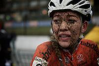 Sophie de Boer's (NLD) post-race make-up<br /> <br /> Elite Women's race<br /> UCI 2016 cyclocross World Championships