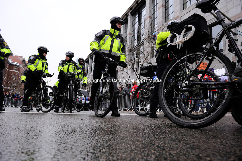 February 4, 2015 - Boston, Massachusetts, U.S. -  Boston police prepare for a parade held in Boston to celebrate the New England Patriots victory over the Seattle Seahawks in Super Bowl XLIX. Eric Canha/CSM