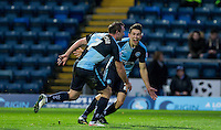 Luke O'Nien of Wycombe Wanderers runs to celebrate with Garry Thompson of Wycombe Wanderers goalscorer of Wycombe second goal during the Sky Bet League 2 match between Wycombe Wanderers and Portsmouth at Adams Park, High Wycombe, England on 28 November 2015. Photo by Andy Rowland.