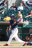 Carlos Correa #1 of the Lancaster JetHawks bats against the Lake Elsinore Storm at The Hanger on April 6, 2014 in Lancaster, California. Lancaster defeated Lake Elsinore, 7-4. (Larry Goren/Four Seam Images)