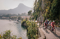 breakaway group next to Lake Como<br /> <br /> 112th Il Lombardia 2018 (ITA)<br /> from Bergamo to Como: 241km