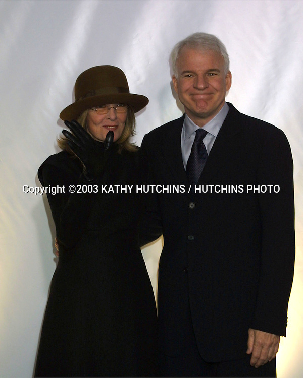 "©2003 KATHY HUTCHINS / HUTCHINS PHOTO.RODEO DRIVE ""WALK OF STYLE"" HONORING GIORGIO ARMANI.BEVERLY HILLS, CA.SEPTEMBER 9, 2003..DIANE KEATON.STEVE MARTIN"