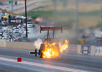 Jul 20, 2018; Morrison, CO, USA; NHRA top fuel driver Steve Torrence suffers an engine fire during qualifying for the Mile High Nationals at Bandimere Speedway. Mandatory Credit: Mark J. Rebilas-USA TODAY Sports