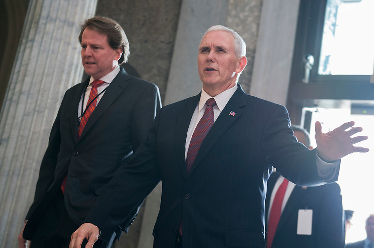 UNITED STATES - APRIL 7: Vice President Mike Pence and White House counsel Don McGahn, arrive in the Capitol on the day the Senate voted to confirm Neil Gorsuch as the next Supreme Court justice, April 7, 2017. (Photo By Tom Williams/CQ Roll Call)