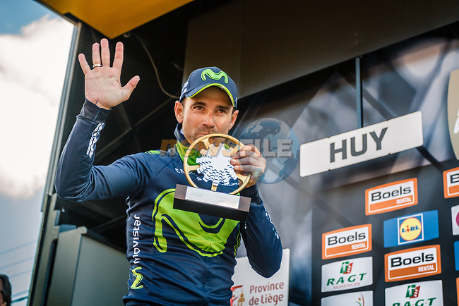 Alejandro Valverde (ESP) Movistar Team wins his 5th Fleche on the podium at the end of La Fleche Wallonne 2017, Huy, Belgium. 19th April 2017. Photo by Thomas van Bracht / PelotonPhotos.com