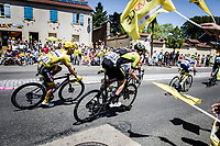 Yellow Jersey Julian Alaphilippe (FRA/Deceuninck Quick Step), Luke Durbridge (AUS/Mitchelton Scott) and peloton cheered on by the excited roadside fans<br />  <br /> Stage 5: Saint-Dié-des-Vosges to Colmar (175km)<br /> 106th Tour de France 2019 (2.UWT)<br /> <br /> ©kramon