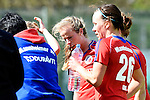 Mannheim, Germany, April 18: During the 1. Bundesliga Damen match between TSV Mannheim (white) and Mannheimer HC (red) on April 18, 2015 at TSV Mannheim in Mannheim, Germany. Final score 1-7 (1-4). (Photo by Dirk Markgraf / www.265-images.com) *** Local caption *** Greta Lyer #10 of Mannheimer HC