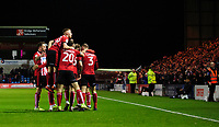 Lincoln City's Harry Anderson celebrates scoring the opening goal with team-mates<br /> <br /> Photographer Chris Vaughan/CameraSport<br /> <br /> The EFL Sky Bet League One - Lincoln City v Bolton Wanderers - Tuesday 14th January 2020  - LNER Stadium - Lincoln<br /> <br /> World Copyright © 2020 CameraSport. All rights reserved. 43 Linden Ave. Countesthorpe. Leicester. England. LE8 5PG - Tel: +44 (0) 116 277 4147 - admin@camerasport.com - www.camerasport.com
