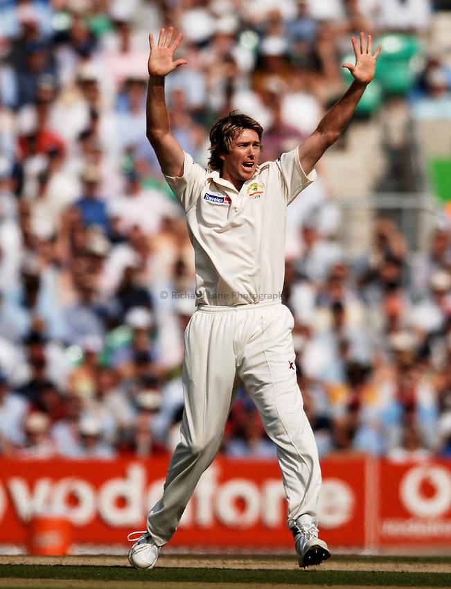 Photo: Glyn Thomas..England v Australia. nPower Test Series. The Ashes 2005..09/09/2005..Australia's Glenn McGrath appeals.