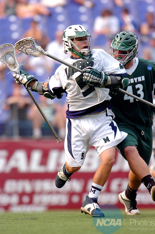 27 MAY 2007: Attackman David Osier (5) of  Mercyhurst and defenseman Mike Malone (43) of Le Moyne vie for position during the Division II Men?s Lacrosse Championship held at M&T Bank Stadium in Baltimore, MD. Le Moyne defeated Mercyhurst 6-5 for the national title.  Larry French/NCAA Photos