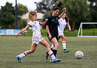 Action from the Auckland Girls' Division II 1st XI final between Kings College and Baradene 2nd XI at Michaels Ave Reserve in Auckland, New Zealand on Wednesday, 22 August 2018. Photo: Simon Watts/www.bwmedia.co.nz