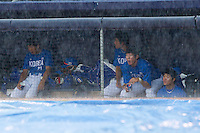 Team Korea watches a show on the video board during a rain delay against Team USA at Durham Bulls Athletic Park July 18, 2010, in Durham, North Carolina.  Photo by Brian Westerholt / Four Seam Images
