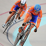 June 23, 2012: Dutch racers, Willy Kanis (right) and Yvonne Hugenaar (left), compete during quarterfinal action in the Women's Sprint competition at the U.S. Grand Prix of Sprinting, Seven Eleven Velodrome, Colorado Springs, CO.