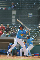 Myrtle Beach Pelicans shortstop Aramis Ademan (11) at bat  during the first game of a doubleheader against the Frederick Keys at Ticketreturn Field at Pelicans Ballpark on April 8, 2018 in Myrtle Beach, South Carolina. Frederick defeated Myrtle Beach 6-4. (Robert Gurganus/Four Seam Images)