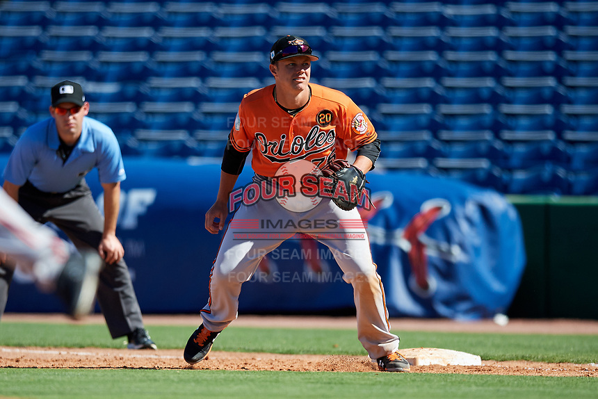 Baltimore Orioles first baseman Ryan Mountcastle (76) during a Grapefruit League Spring Training game against the Philadelphia Phillies on February 28, 2019 at Spectrum Field in Clearwater, Florida.  Orioles tied the Phillies 5-5.  (Mike Janes/Four Seam Images)
