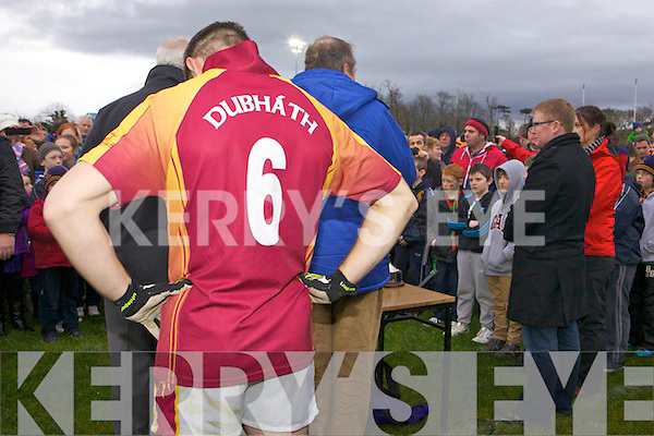 Duagh's captain Kieran Quirke awaits the cup after winning the replay of the Bernard O'Callaghan Memorial Senior Football Championship final last Sunday in Frank Sheehy Park, Listowel.