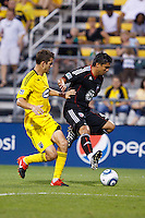 26 JUNE 2010:  Eric Brunner of the Columbus Crew (23) and Jaime Moreno #99 of DC United  during MLS soccer game between DC United vs Columbus Crew at Crew Stadium in Columbus, Ohio on May 29, 2010. The Crew defeated DC United 2-0.