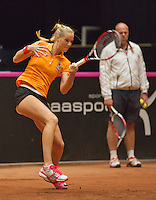 The Netherlands, Den Bosch, 16.04.2014. Fed Cup Netherlands-Japan, practice ,Arantxa Rus (NED) and coach Raymond Knaap (NED)<br /> Photo:Tennisimages/Henk Koster
