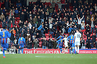 Maldon fans celebrate the second goal during Leyton Orient vs Maldon & Tiptree, Emirates FA Cup Football at The Breyer Group Stadium on 10th November 2019