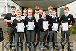 North Kerry College students who received  their junior cert results on Wednesday morning last. Front : Megan Mulvihill, Katelyn Flynn, David O'Gorman, Michael Hickey & Niall Stack. Back : Cillian O'Gorman, Simon Bajger, Chrisyopher Nihill, Steven McCarthy & Conor Halpin.